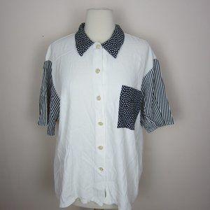 Vtg 90's Landon West Button Down Shirt Women's L
